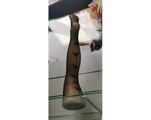 Fishnet stockings with bows at the back
